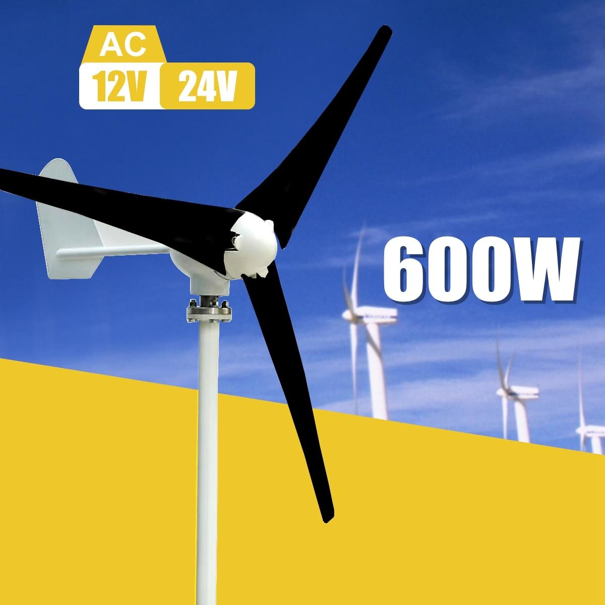 Max 600 w Vent Turbine Générateur Kit Max AC 12 v 24 v 3 Lame Option Aérogénérateur