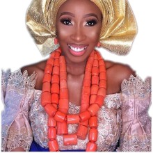 Fantastic Wedding Coral Beads Bridal Jewelry Set Big Design Jewellery Set African Nigerian Beads Necklace Set Free Ship 2018 New 2017 new design handmade coral beads statement necklace set nigerian wedding african beads lace jewelry set free shipping abk849