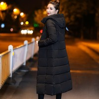 Yaxez 2018 Korean harajuku 3xl plus size mid length slim Over the knees Hooded Quilted jacket Thick warm winter woman coat