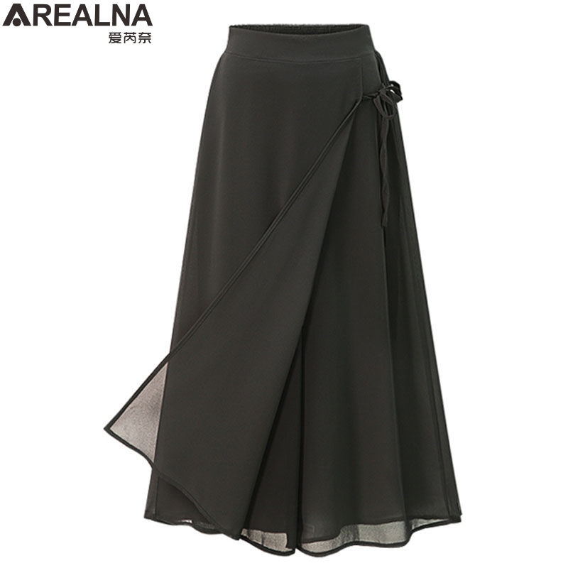 2018 Summer Style Plus Size 4XL trousers women Casual Loose Chiffon Calf- Length   Pants   Black   Wide     wide     leg     pants   women