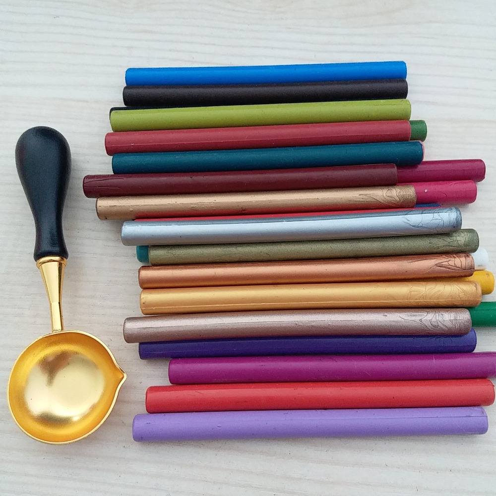 DIY Manuscript Wax Seal Stamp Wedding Invitation Decoration Wax Sealing Sticks for Glue Gun 16 Pieces pack with one large spoon chancellor manuscript the