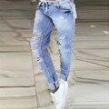 Весенняя Мода Длинные Джинсовые Брюки Новое Прибытие Женские Бренд Высокого улицы Середины Талии Молния Летать Карманы Голубой Ripped Тощий джинсы