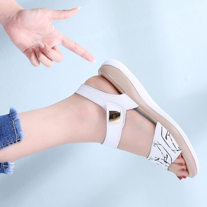 Image 5 - STQ 2020 Women Sandals Summer Genuine Leather Flat Sandals Ankle Strap Flat Sandals Ladies White Peep Toe Flipflops Shoes 1803