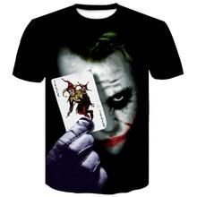Newest Mens Summer clown Poker Print O-Neck Short Sleeve T-shirt 2019 summer 3D T Shirt Casual Breathable Men tshirt Plus-size цены
