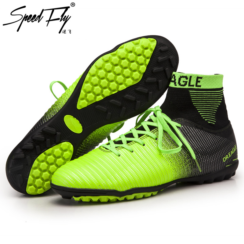 Speedfly Warm soccer shoes Superfly High Ankle Football Boots Fluorescent XI TF Cheap Cleats Athletic Trainer Boot chuteira Turf tiebao e1018c professional kids indoor football boots turf racing soccer boots training football shoes