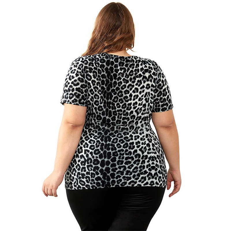 cd6c6719a642b4 ... YTL women tops summer Sexy V Neck Ruched Leopard Print Tunic Ladies  Short Sleeve Top Tshirt ...