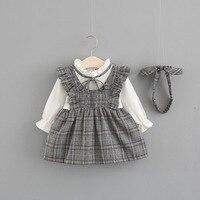 Vestido de cuadros con diadema gris 1