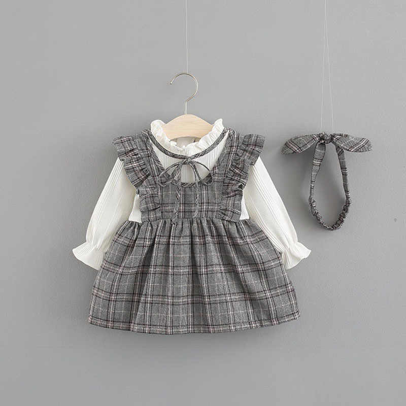 New Cute Vestido Infantil Baby Girl Dress Girls College Wind Dress 0-3 Years Old Baby Long Sleeve Autumn Two Piece Long Dress