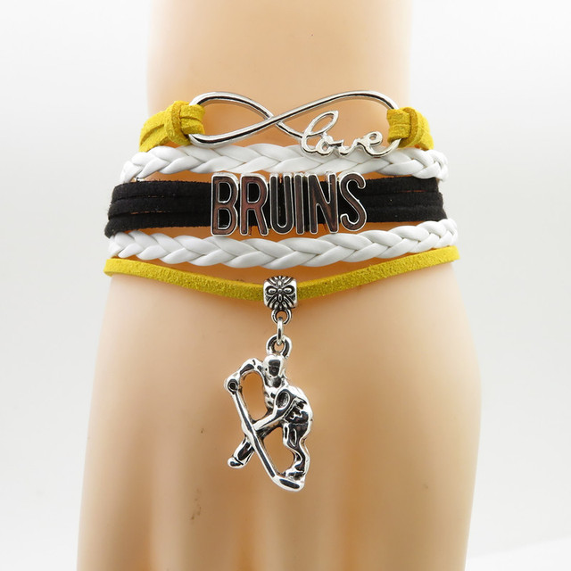 4f2033986cc30 fashion Bruins bracelet hockey charm leather bracelets & bangles for women  and men jewelry trendy hockey gift-in Chain & Link Bracelets from Jewelry &  ...