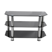 W Brief Fashion Black Glass TV Stand Cabinet Suitable For LCD LED Plasma Black Glass Leg