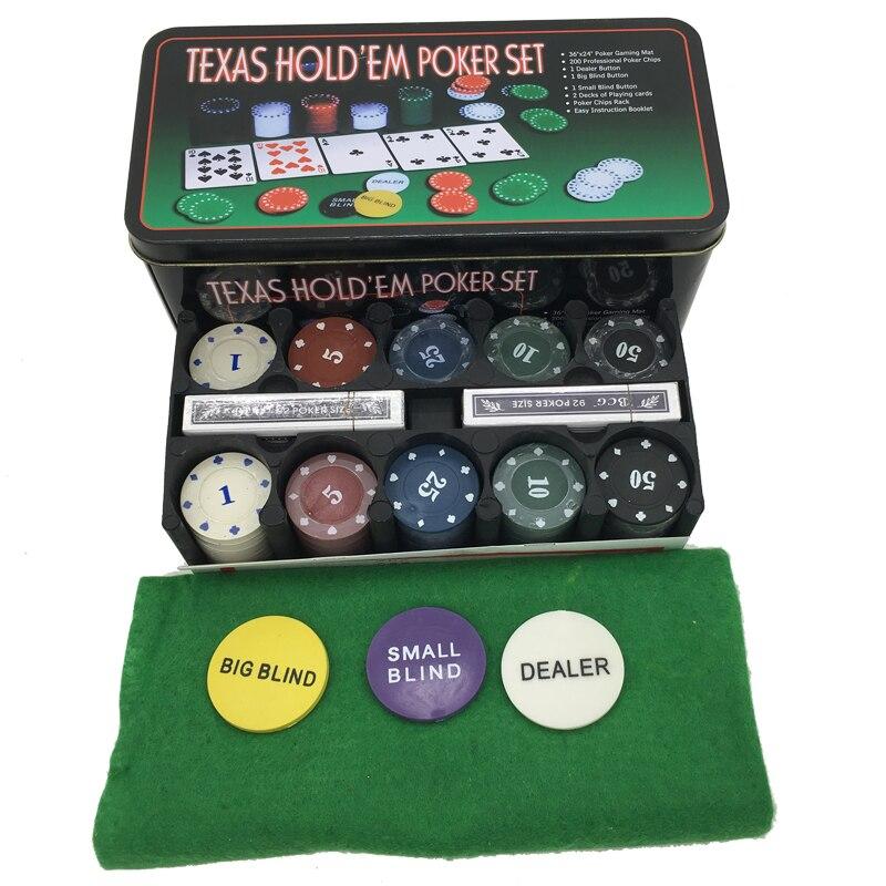 2 decks playing cards + 200 chips + 1 gaming mat texas holdem pocker set poker table