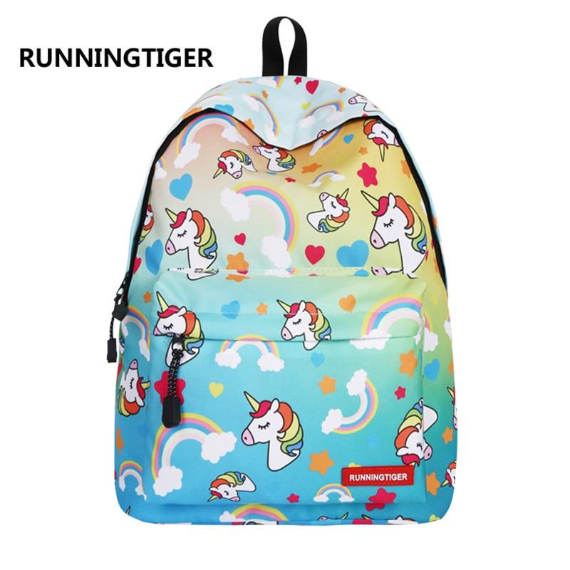 Unicorn Printing Teenage School Bags and Shoulder Travel Backpack Beach Weekend Bag Laptop Bag Daypack For Boys&girls Bookbags