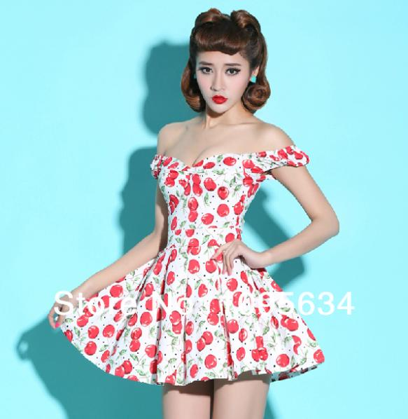 free shipping off shoulder 50s rockabilly pin up Style ...