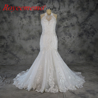2018 Vestido de Noiva new special lace design wedding dress halter neck wedding gown mermaid wholesale price bridal dress
