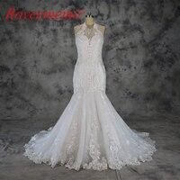 2018 Vestido de Noiva nuovo speciale di disegno del merletto abito da sposa halter neck abito da sposa mermaid prezzo all'ingrosso abito da sposa