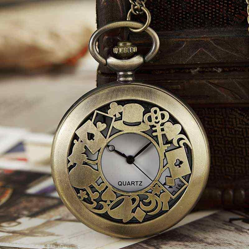 Алиса в стране чудес кварцевые цепочки для карманных часов ожерелье кулон брелок кролик винтажные часы стимпанк подарки Reloj De Bolsillo