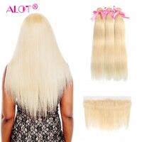 Много прямые волосы 613 Связки с фронтальной 3 блондинка Связки с закрытием Реми Перуанской Человеческих Волос Блондинка пучки с фронтальной