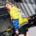 2016 зимняя Куртка Женщин Вниз куртки краситель матч вышивка пуховик личность тонкий дизайн короткий верхняя одежда женская Куртка