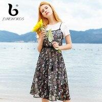 FINEWORDS Floral Sommerkleid Frauen Aufflackernhülse Eine Linie Chiffon-Kleider Casual Koreanische Chic Urlaub Druck Strand Kleid 2 Stücke