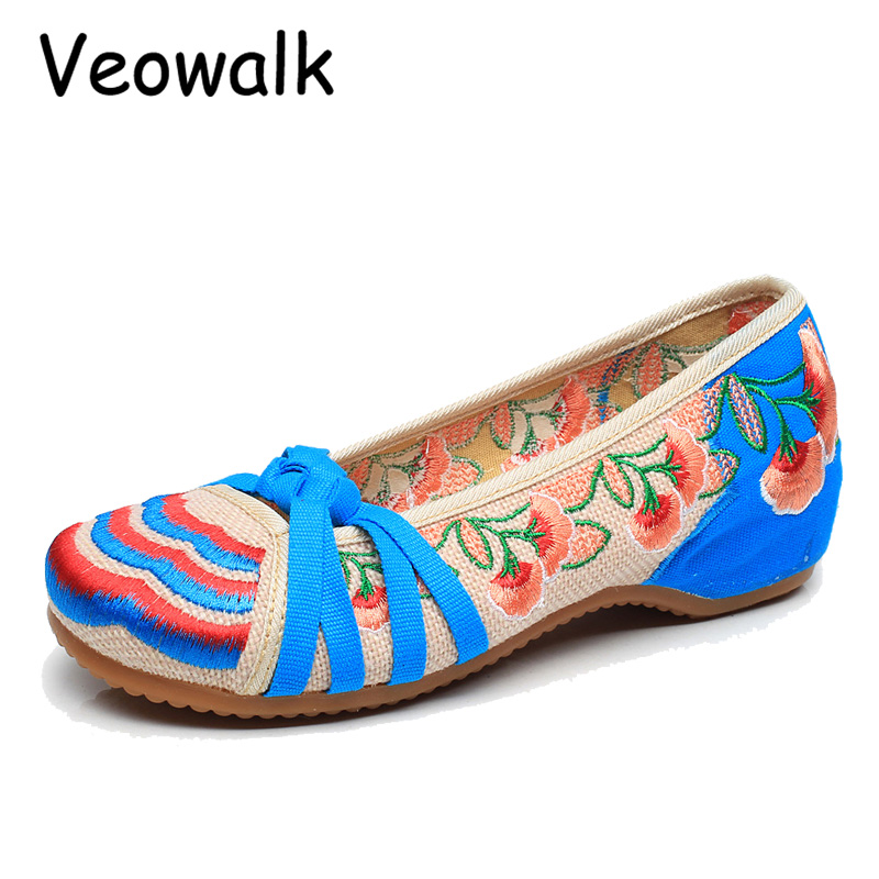 Veowalk Big Size 41 Classical Women's Shoes Old Peking Mary Jane Flat Heel Canvas Flats Flower Embroidery Casual Dancing Shoes vintage embroidery women flats chinese floral canvas embroidered shoes national old beijing cloth single dance soft flats