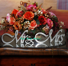 custom Silver Crystal shining bright Mr &Mrs sign Wedding Gift Letters White Top Table Decoration Wedding Props