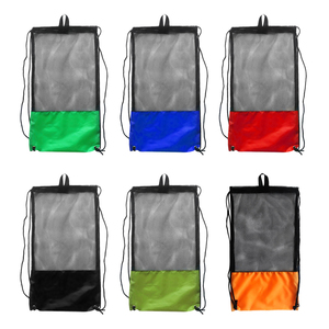 Scuba Diving Snorkeling Swimming Fins Mesh Gear Drawstring Bag with Shoulder Strap - Various Color Pool Swimming Accessories(China)