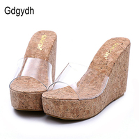 Free Shipping 2015 New Summer Transparent Platform Wedges Sandals Women Fashion High Heels Female Slippers 3