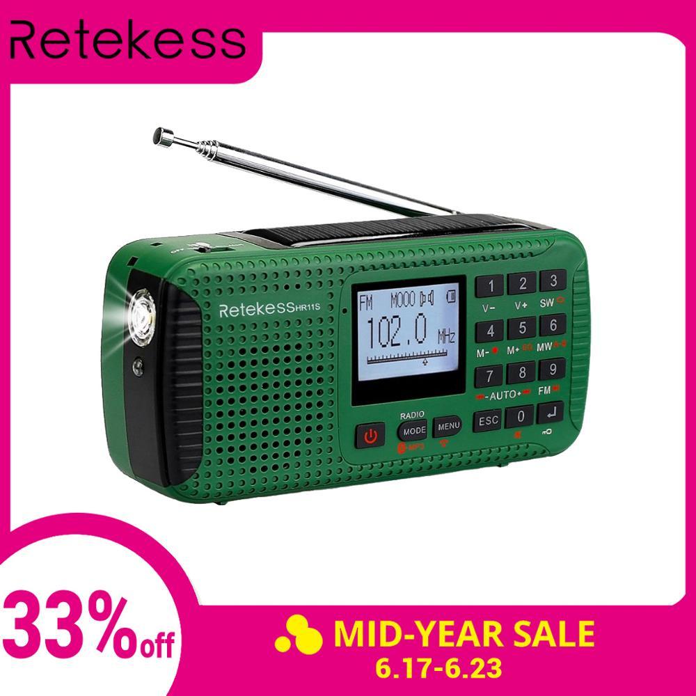 Récepteur Radio d'urgence solaire à manivelle Portable RETEKESS HR11S FM MW SW avec lecteur MP3 Bluetooth enregistreur numérique