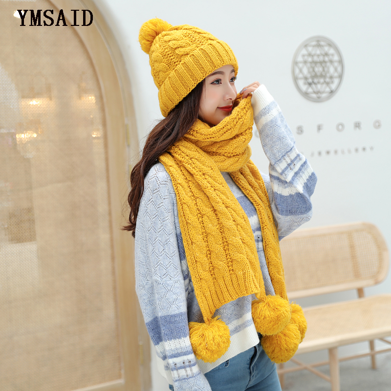 Ymsaid Women's Winter Hat Scarf Set Wool Knitted Hat Female Fur Pompom Hats For Women Lady Bonnet Thick Warm Ski Cap Collar
