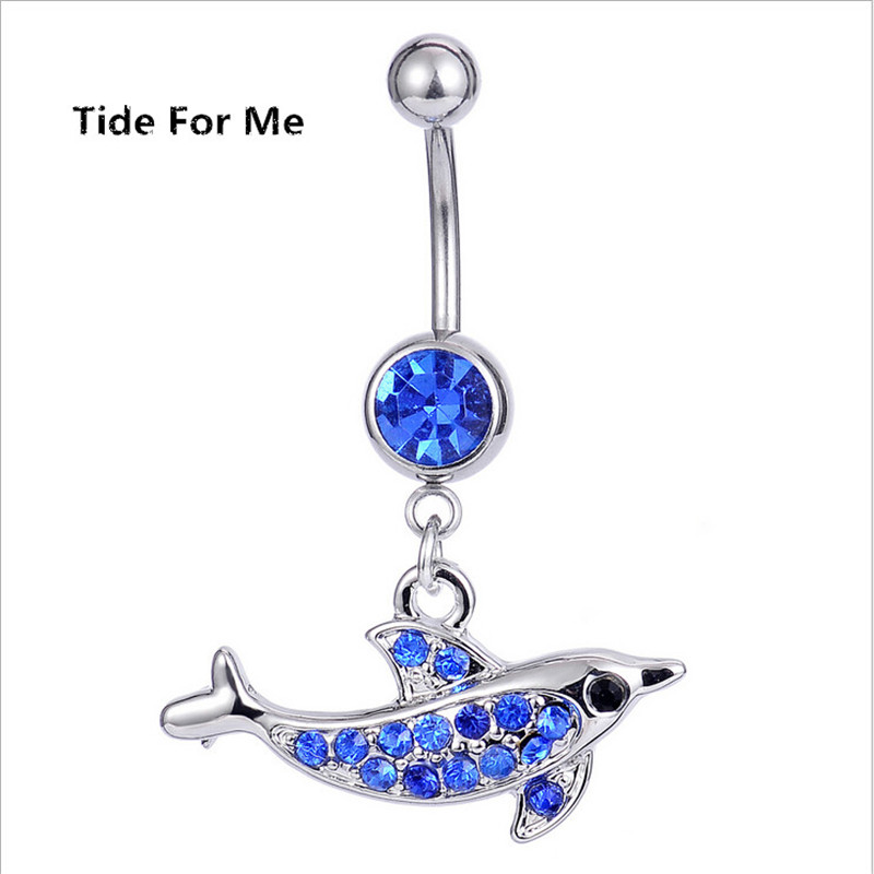Surgical Steel Cute Animal Dolphin Dangle Navel Rings Crystal