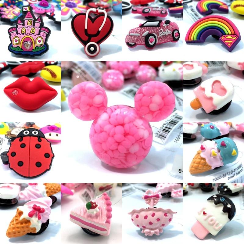 10pcs High Imitation Shoe Charms Ice Cream Cake Ladybug Soccer Rainbow Lips Accessory Buckles Fit Bracelets Croc JIBZ Kids Gifts