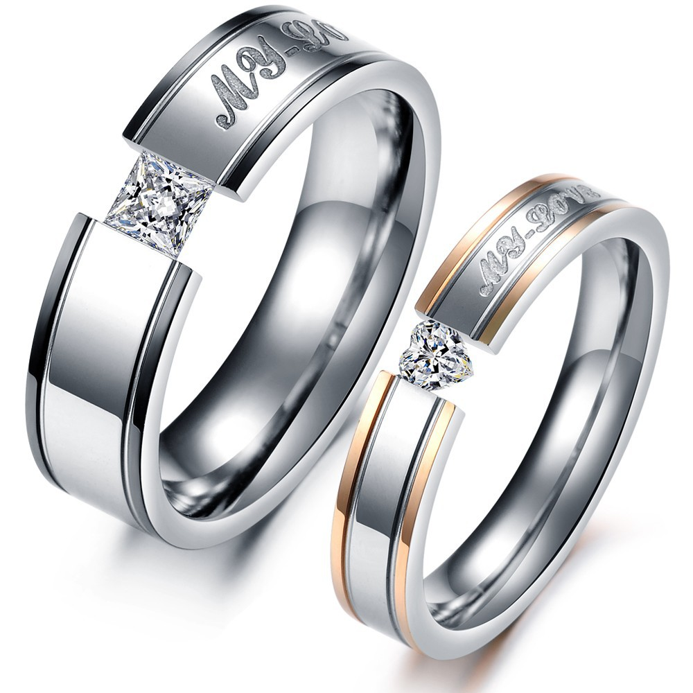 1 Piece Price Fashion Heart AAA Cubic Zirconia Rhinestone + Steel Couple Rings Set Women and Men Engagement Wedding Ring