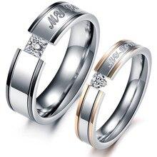 1 Шт. Цена Мода Сердце AAA Кубического Циркония Горный Хрусталь + Стальные Кольца Пара Набор Женщин и Мужчин Обручальные Кольца