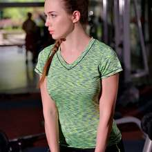 Women QUICK-DRY Tee Gymming Vest Sporting T Shirt Yogaing Workout Fitness Exercise Runs Clothing Brand Top Singlets Vest V91(China)