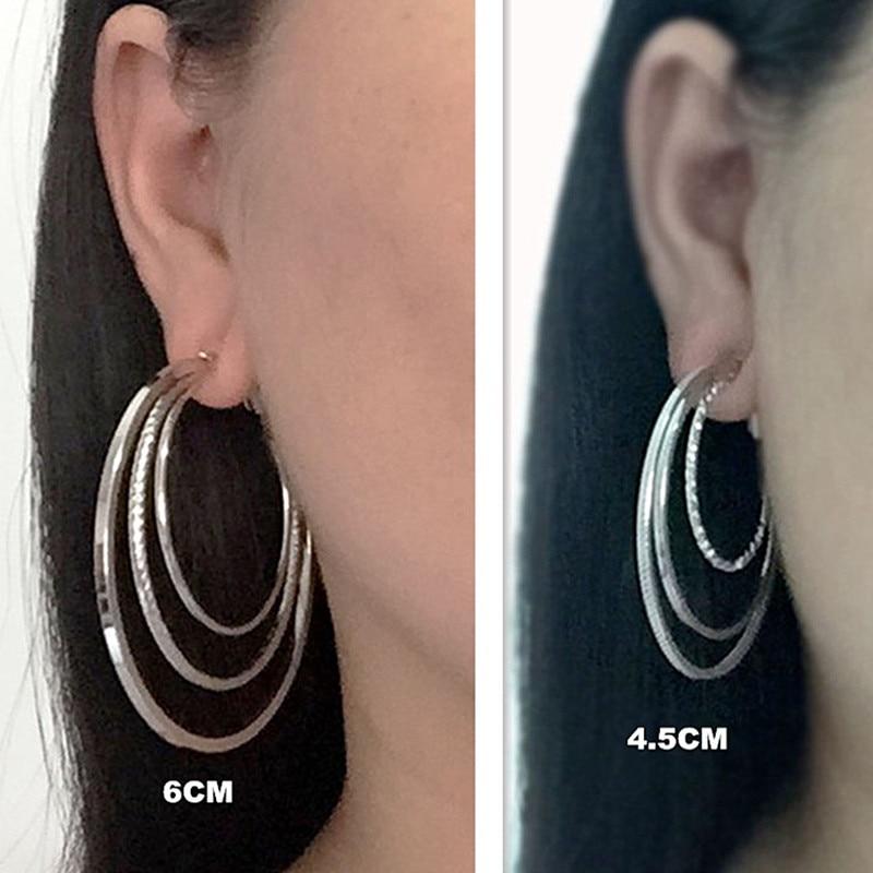 Klip på øret uden piercing Intet hul Stor cirkel Øreringe til kvinder Mode kvindelige smykker guld sølv legering Mevrouw øreringe