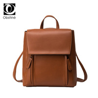 Hot Sale Fashion Casual Hard Solid Backpack Women Han Ban PU Leather High Quality Schoolbag College