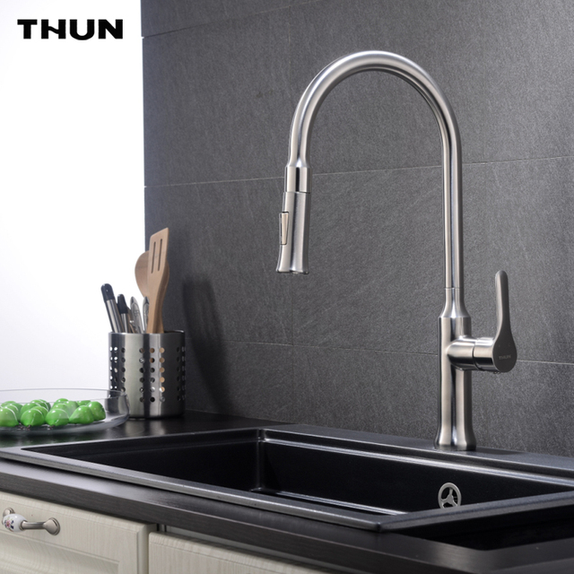 stainless steel kitchen faucets round black table thun pull down faucet white finish dual sprayer nozzle hot cold water sink mixer torneira cozinha