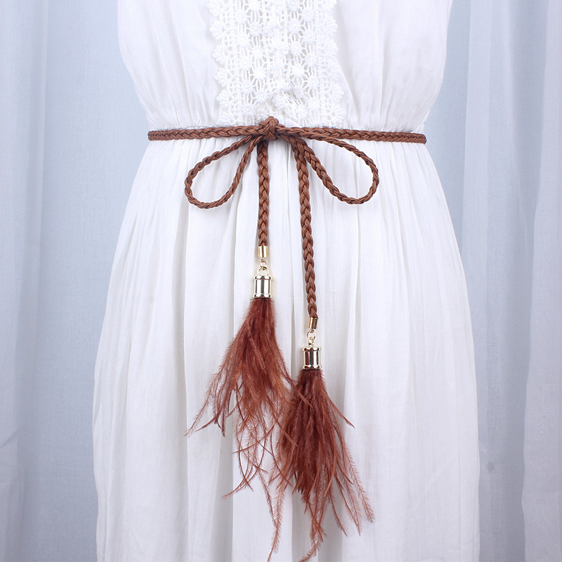 women knitted leather designer woven braid   belt   long tassel rope waist   belts   for dresses waistband knot decorated cotton string
