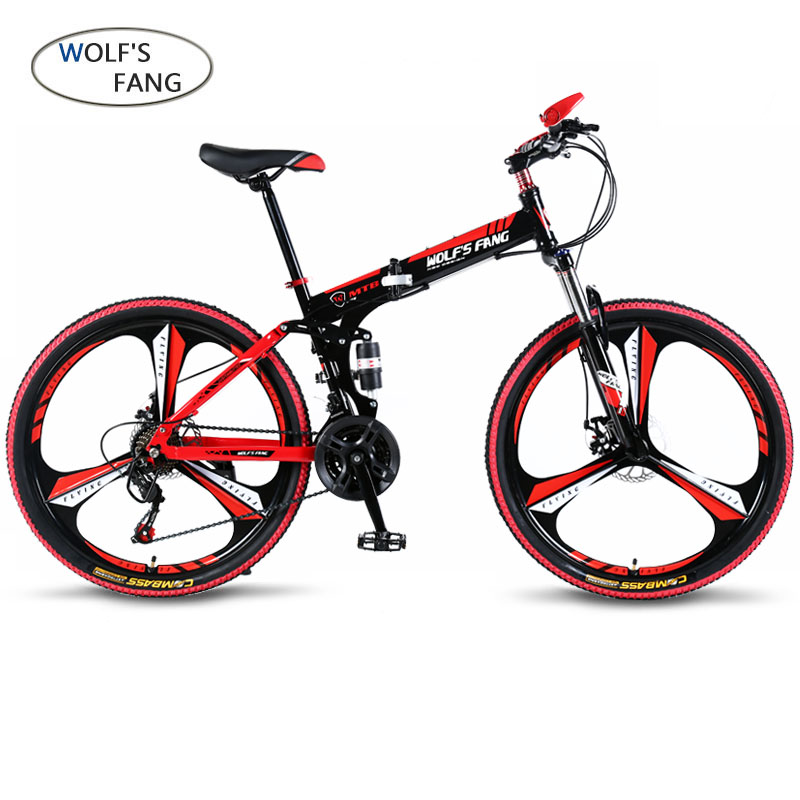 wolf's fang Bicycle 21 speed 26 inch Mountain bike folding bicycle Road Bikes Brand Unisex Full Shockingproof Frame bicycles image