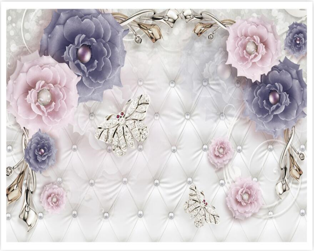 Beibehang Custom Wallpaper 3d European Retro Floral Jewelry Three