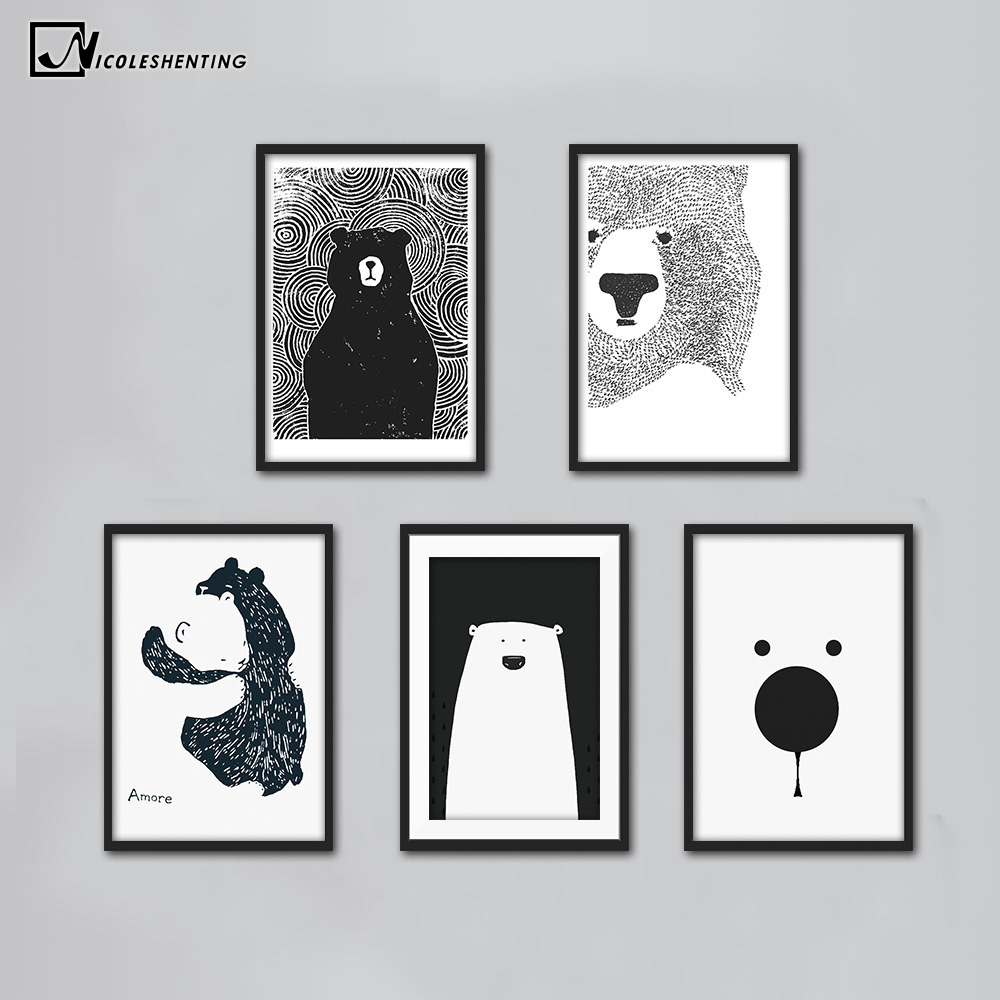 Cartoon Niedźwiedź polarny Zwierząt Nordic Art Canvas Poster Minimalistyczny druk Black White Wall Picture Modern Home Kids Room Decoration