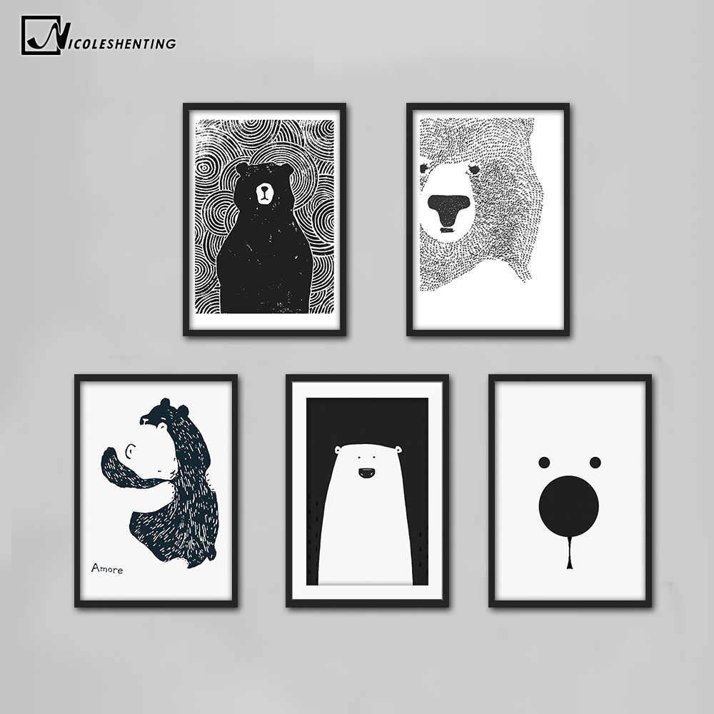 Kartun Beruang Kutub Hewan Minimalis Nordic Seni Kanvas