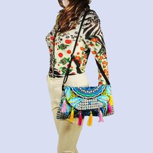022e5360458b Hmong Tribal Ethnic Thai Indian Boho shoulder bag messenger embroidery pom  charm trim SYS-370C