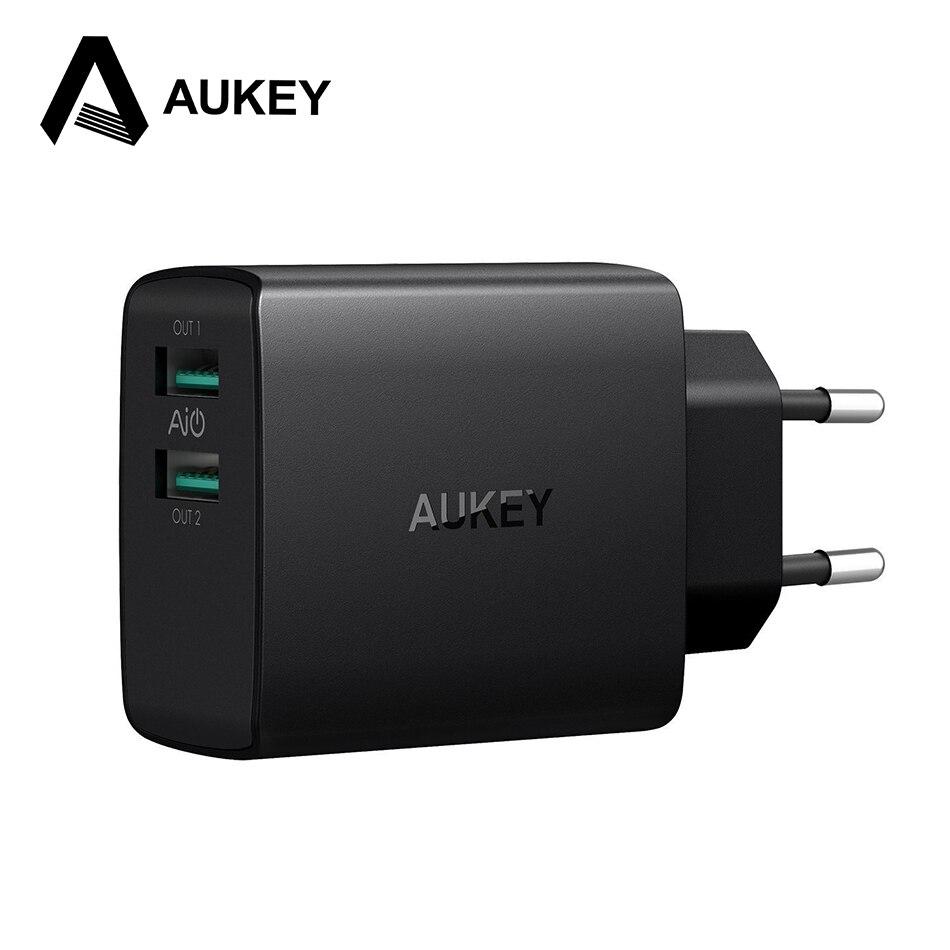 AUKEY Rapide USB Chargeur 4.8A Dual USB Mur Mobile Téléphone Chargeur Adaptateur Pour iPhone X 8 7 Plus iPad Samsung S9 8 Xiaomi mi6 de mélange 2 s