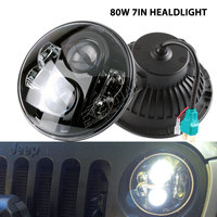 80W 7 LED Headlight For Car 4x4 Offroad Motorcycle Harley Jeep Wrangler JK LJ CJ TJ