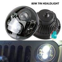 80W 7 LED Headlight For Car 4x4 Offroad Motorcycle Harley Jeep Wrangler JK LJ CJ TJ