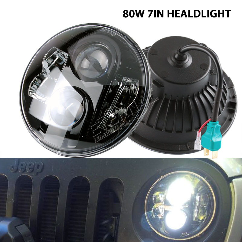 free shipping pair 80W 7 LED headlight for car 4x4 offroad motorcycle Harley Jeep Wrangler JK LJ CJ TJ H4 H13 LED headlight kit