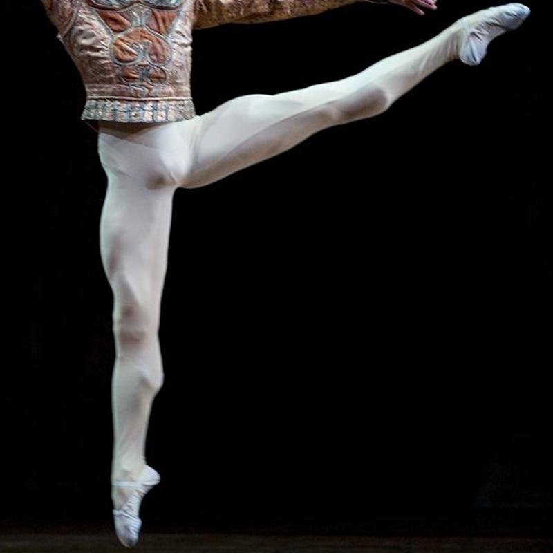 Black White Nylon Spandex Footed Dance Ballet Tights For Men Boy Dance Wear