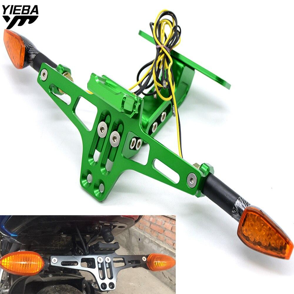 Motorcycle License Plate Bracket Licence Plate Holder With Light FOR KAWASAKI Z750 Z750R Z250 Z1000 NINJA 250/300 KLX450R KLR650