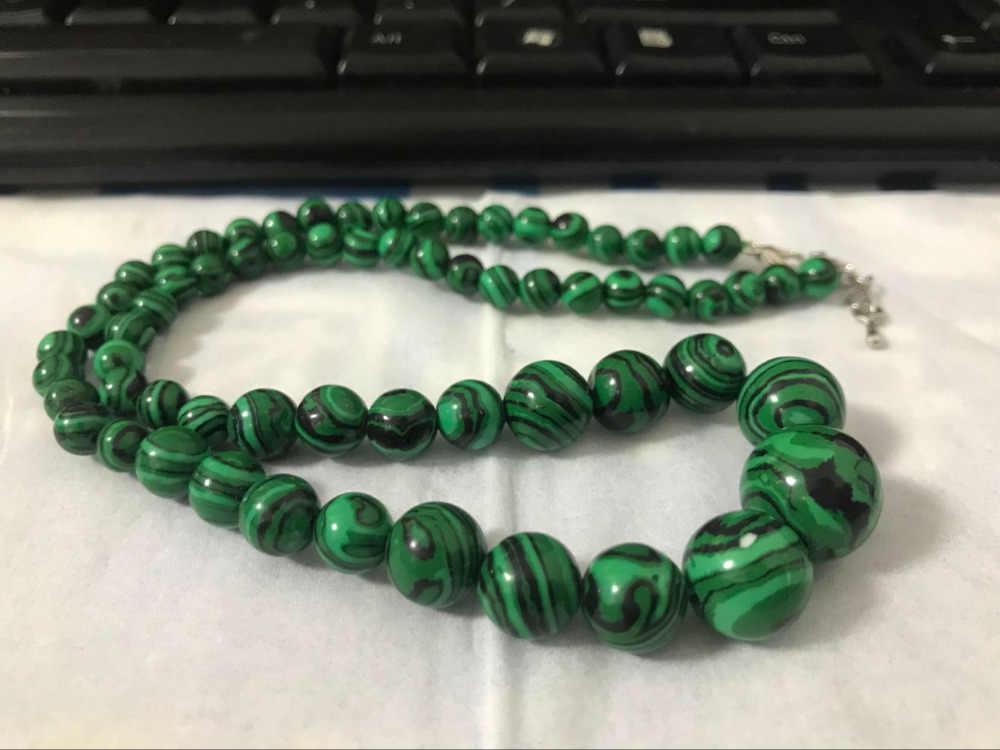 (Минимальный Order1) 6-14 мм зеленый горгуский Малахитовый Круглый бисер ожерелье ручной работы веревка цепи бусины ювелирные изделия изготовление натурального камня 18 дюймов